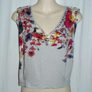 LAUREN CONRAD Gray & Floral Print V-Neck Crop top